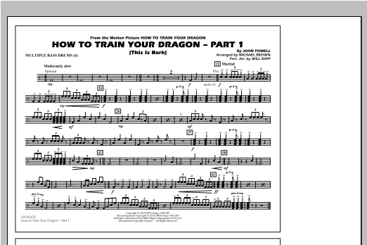 How To Train Your Dragon Part 1 - Multiple Bass Drums Sheet Music