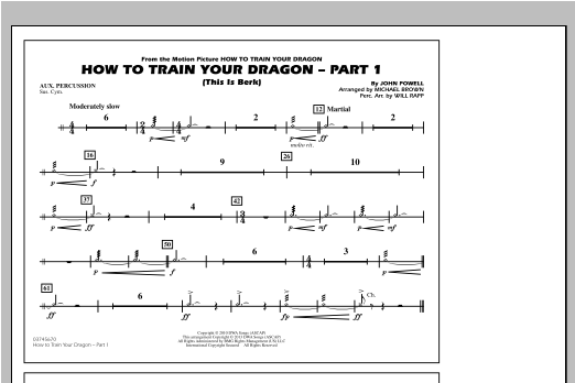 How To Train Your Dragon Part 1 - Aux Percussion Sheet Music