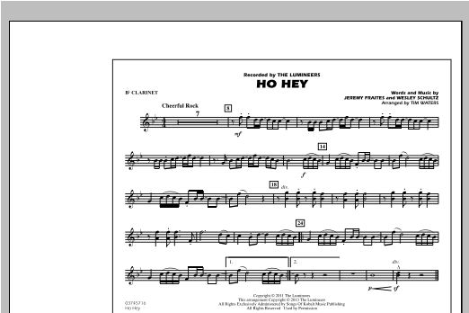 Ho Hey - Bb Clarinet Sheet Music
