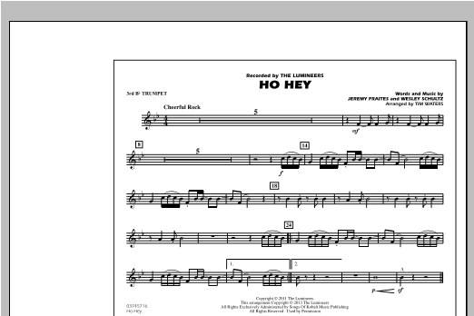 Ho Hey - 3rd Bb Trumpet Sheet Music
