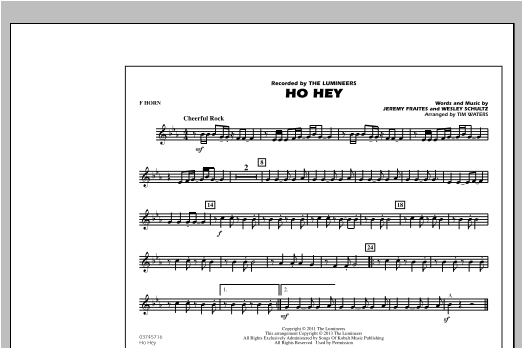 Ho Hey - F Horn Sheet Music