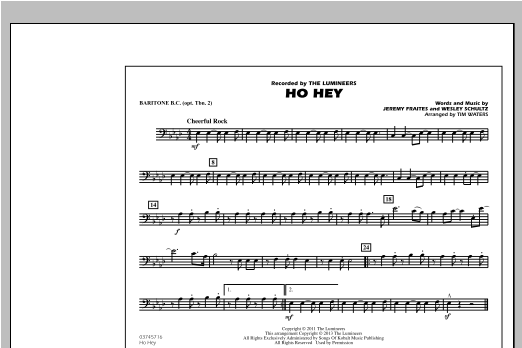 Ho Hey - Baritone B.C. (Opt. Tbn. 2) Sheet Music