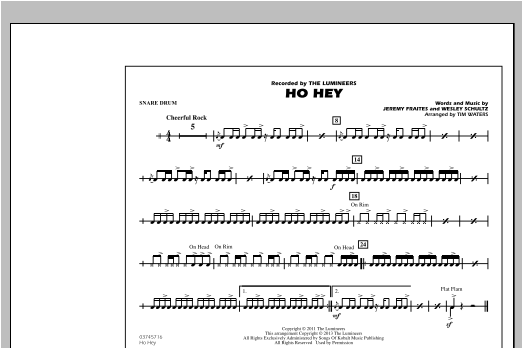 Ho Hey - Snare Drum Sheet Music