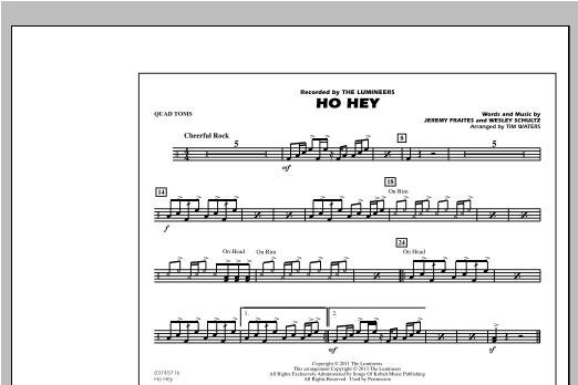 Ho Hey - Quad Toms Sheet Music
