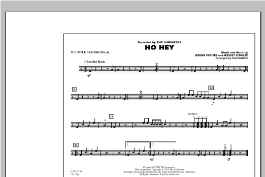Ho Hey - Multiple Bass Drums Sheet Music
