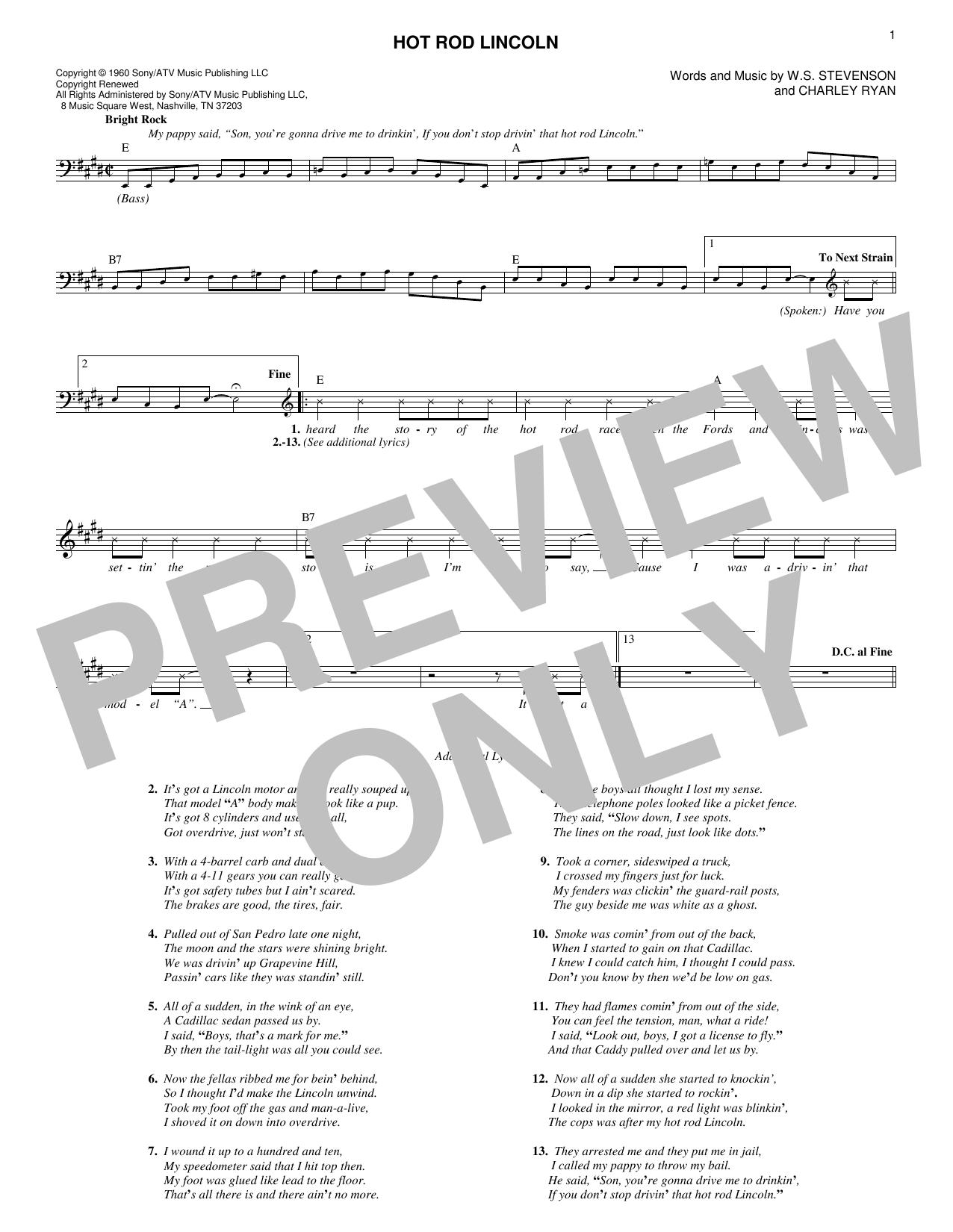 Hot Rod Lincoln Sheet Music