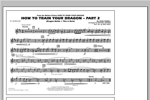 How To Train Your Dragon Part 2 - Eb Alto Sax Sheet Music