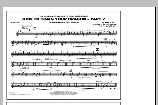 How To Train Your Dragon Part 2 - Bb Tenor Sax Sheet Music