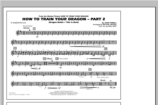 How To Train Your Dragon Part 2 - Eb Baritone Sax Sheet Music
