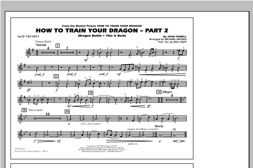 How To Train Your Dragon Part 2 - 2nd Bb Trumpet Sheet Music