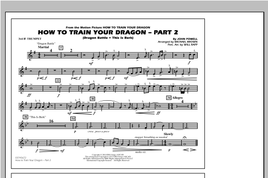How To Train Your Dragon Part 2 - 3rd Bb Trumpet Sheet Music