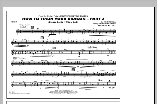 How To Train Your Dragon Part 2 - F Horn Sheet Music