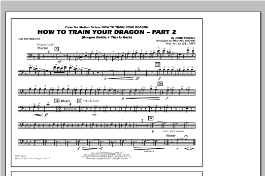 How To Train Your Dragon Part 2 - 2nd Trombone Sheet Music