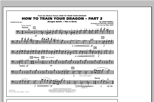How To Train Your Dragon Part 2 - Baritone B.C. Sheet Music