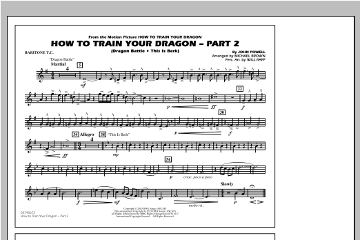 How To Train Your Dragon Part 2 - Baritone T.C. Sheet Music