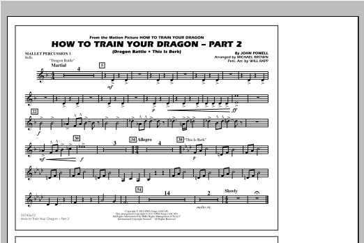 How To Train Your Dragon Part 2 - Mallet Percussion 1 Sheet Music