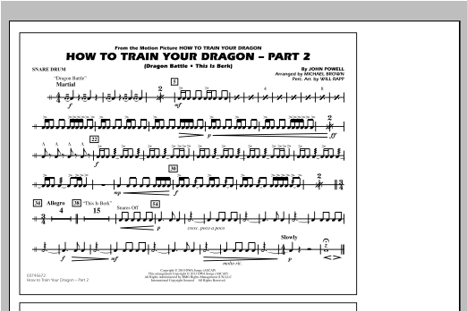 How To Train Your Dragon Part 2 - Snare Drum Sheet Music