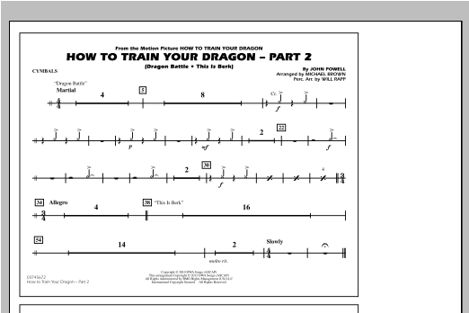 How To Train Your Dragon Part 2 - Cymbals Sheet Music