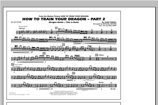 How To Train Your Dragon Part 2 - Quad Toms Sheet Music