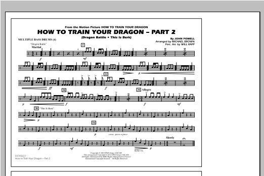 How To Train Your Dragon Part 2 - Multiple Bass Drums Sheet Music
