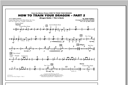 How To Train Your Dragon Part 2 - Aux Percussion Sheet Music