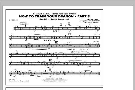 How To Train Your Dragon Part 3 - Eb Alto Sax Sheet Music