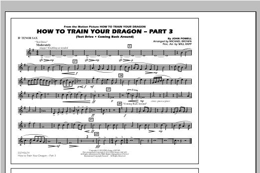 How To Train Your Dragon Part 3 - Bb Tenor Sax Sheet Music