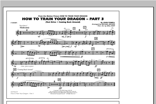 How To Train Your Dragon Part 3 - F Horn Sheet Music
