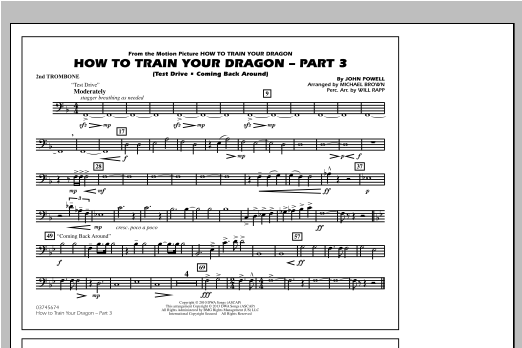 How To Train Your Dragon Part 3 - 2nd Trombone Sheet Music