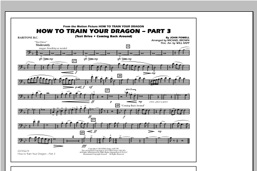 How To Train Your Dragon Part 3 - Baritone B.C. Sheet Music