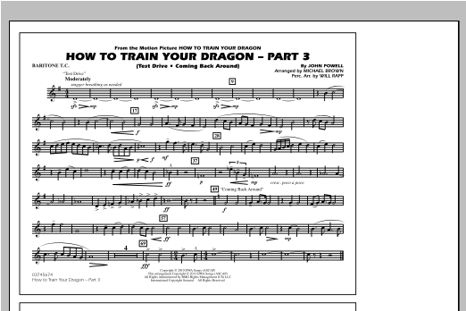 How To Train Your Dragon Part 3 - Baritone T.C. Sheet Music
