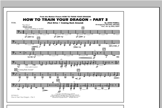 How To Train Your Dragon Part 3 - Tuba Sheet Music