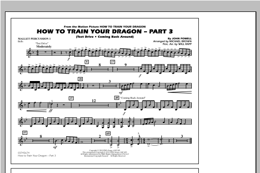 How To Train Your Dragon Part 3 - Mallet Percussion 1 Sheet Music