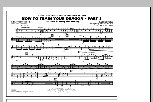 How To Train Your Dragon Part 3 - Mallet Percussion 2 Partition Digitale
