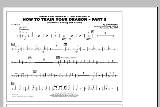 How To Train Your Dragon Part 3 - Cymbals Sheet Music