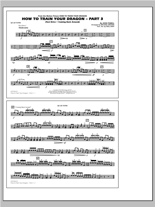 How To Train Your Dragon Part 3 - Quad Toms Sheet Music