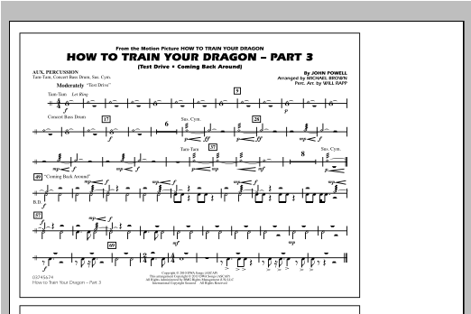 How To Train Your Dragon Part 3 - Aux Percussion Sheet Music