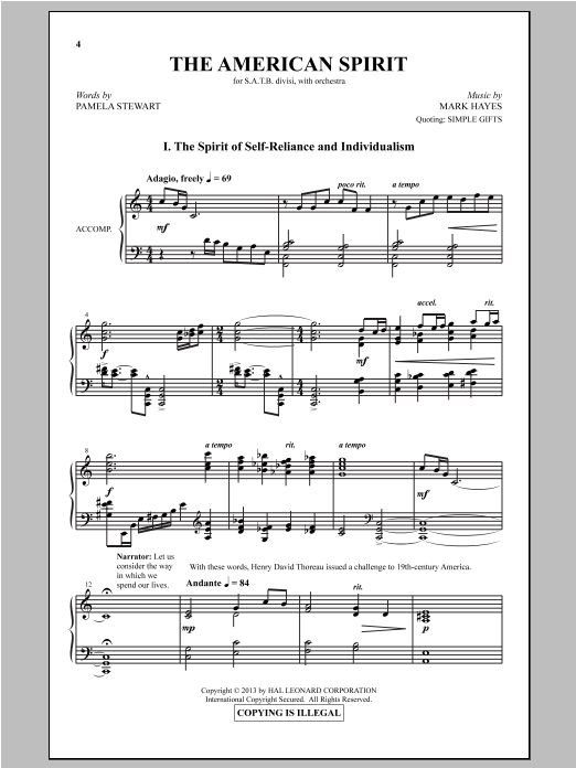 Partition chorale The American Spirit de Mark Hayes - SATB