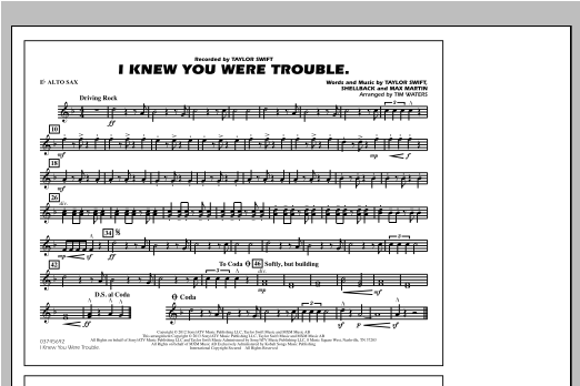 I Knew You Were Trouble - Eb Alto Sax Sheet Music