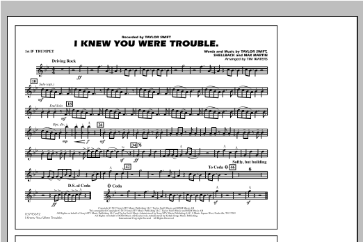 I Knew You Were Trouble - 1st Bb Trumpet Sheet Music