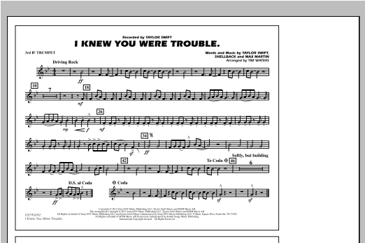 I Knew You Were Trouble - 3rd Bb Trumpet Sheet Music