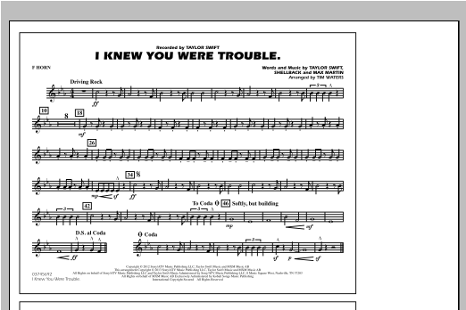 I Knew You Were Trouble - F Horn Sheet Music