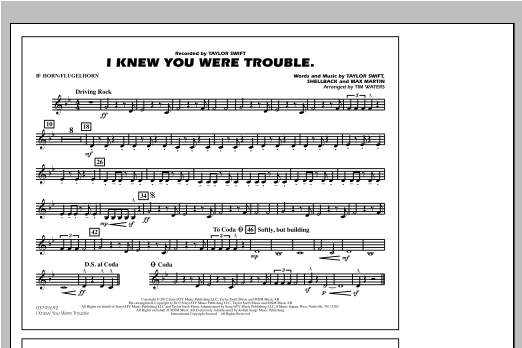 I Knew You Were Trouble - Bb Horn/Flugelhorn Sheet Music