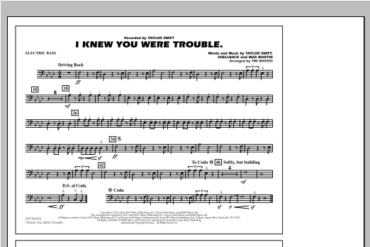 I Knew You Were Trouble - Electric Bass Sheet Music