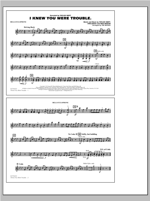 I Knew You Were Trouble - Bells/Xylophone Sheet Music