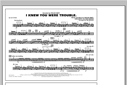 I Knew You Were Trouble - Quad Toms Sheet Music