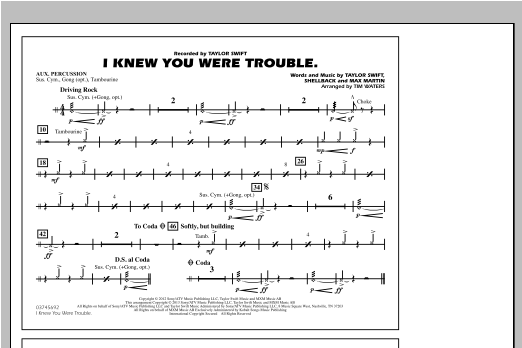 I Knew You Were Trouble - Aux Percussion Sheet Music