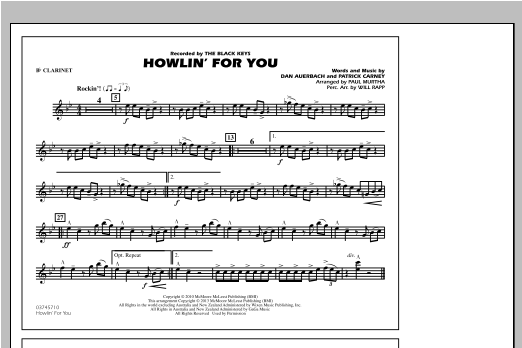 Howlin' For You - Bb Clarinet Sheet Music