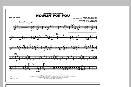 Howlin' For You - 1st Bb Trumpet Partition Digitale
