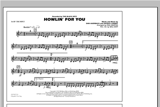 Howlin' For You - 3rd Bb Trumpet Sheet Music